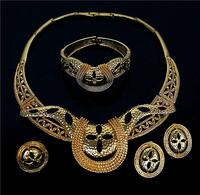 Big Size For African People Beads Jewelry Set Gold Plated Jewelry Set Fashion Jewelry Gold Platedwedding