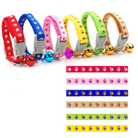 6pcs Pack 0 8cm Wide Paws Print Nylon Cat Dog Collars Multicolors Puppy Kitten Collar With