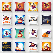 Witches Printed Happy Halloween Cushion Cover 45x45cm Polyester Pumpkin Throw Pillow Covers Cushions Home Decoration Accessories