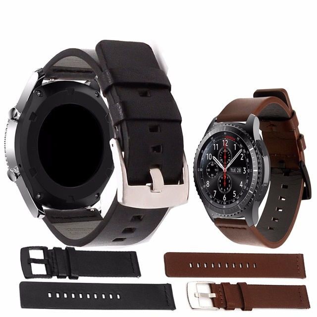 Easy Install Genuine Classic Black Leather Strap for Samsung Gear S3 Classic Fro