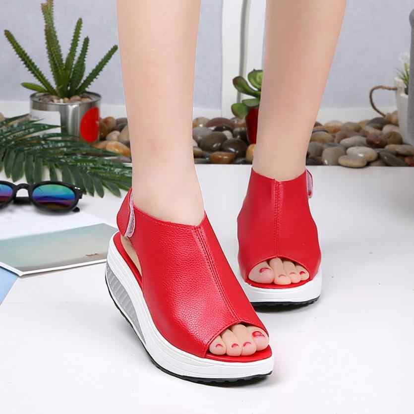 4be39f06eaad18 ... Fashion Women Shake Shoes Summer Sandals Fish mouth Thick Bottom Higt  Heel Shoes Indoor Outdoor Casual Sandals ...