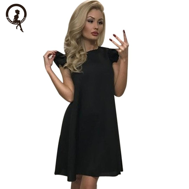 Fairies tell Womens Sexy Dresses Party Night Club Solid Dress Summer sleeveless loose casual Lotus Leaf Mini Party Dress BLWS