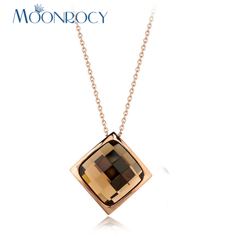 MOONROCY Rose Gold Color Crystal Pendant Neckalce Square Jewelry CZ Blue Grey Green Brown Choker for Women Gift Drop Shipping