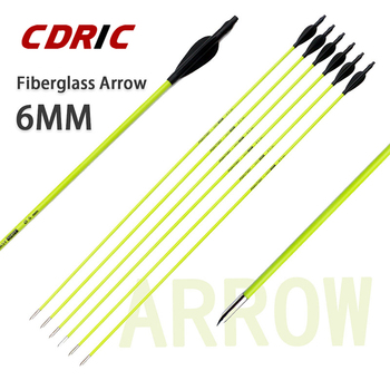 6/12/24 Pcs 31inches  6mm Fiberglass Arrow For Recurve Bow or Longbow Hunting Archery