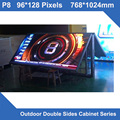 P8 Outdoor Display LED SMD led panel 768*1024mm Double Sides front open maintenance Cabinet for LED screen signs  fixed install