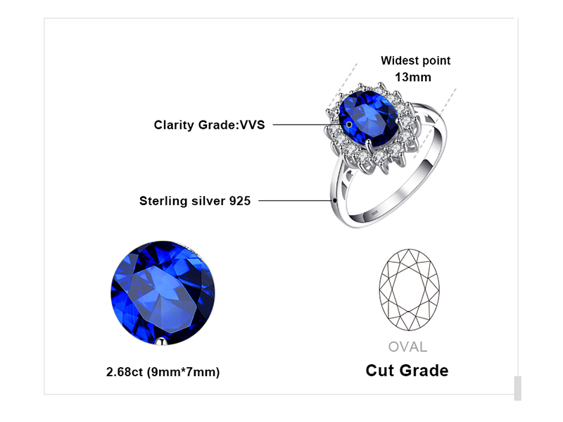 Created Blue Sapphire Engagement 925 Sterling Silver Ring for Women