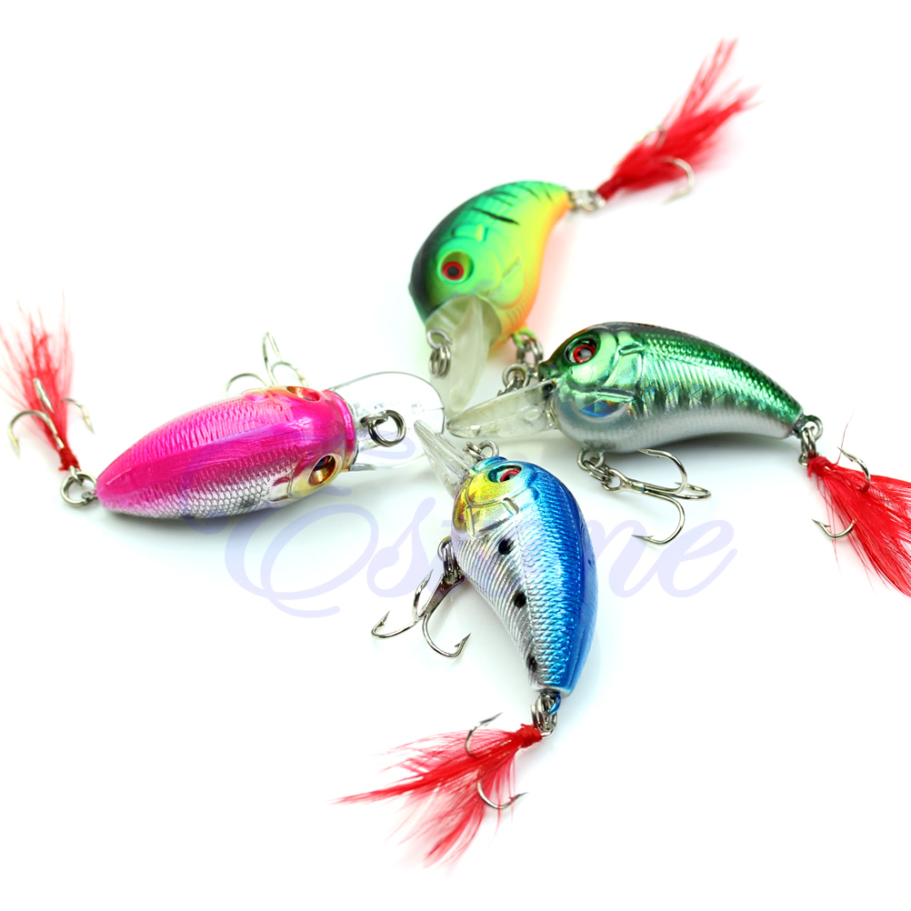 Image 3 - 5pcs 85mm 4g Biomimetic Fishing Lures Crankbait Feather Sharp Hook Tackle Treble Fishing Accessories-in Fishing Lures from Sports & Entertainment
