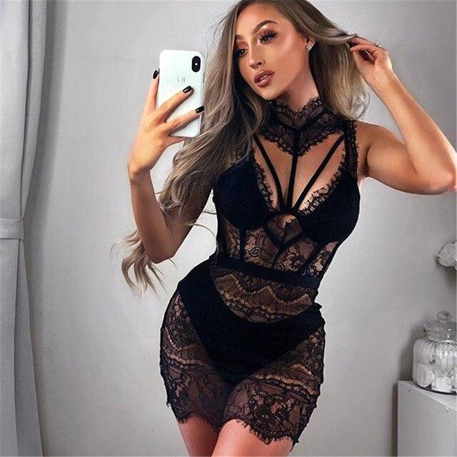 BKLD Camisón Sexy de encaje para mujer, ropa de dormir corta, vestido de noche transparente, camisón de encaje negro y rojo para mujer