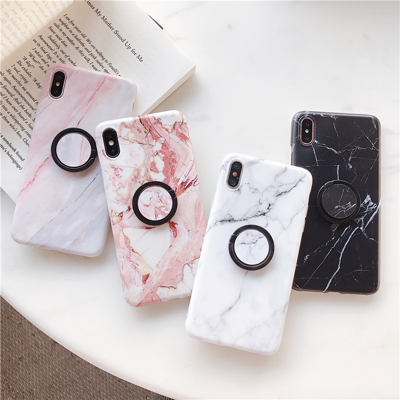 Ring mount stand Marble Case for iphone XS Max Matte soft tpu case For 6 6s 7 8 Plus X XR Stand grip