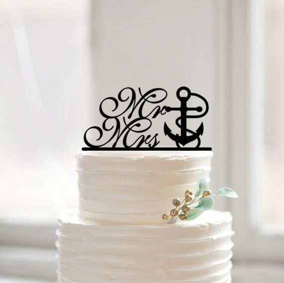 Custom Mr and Mrs Nautical Cake Topper with Anchor Traditional