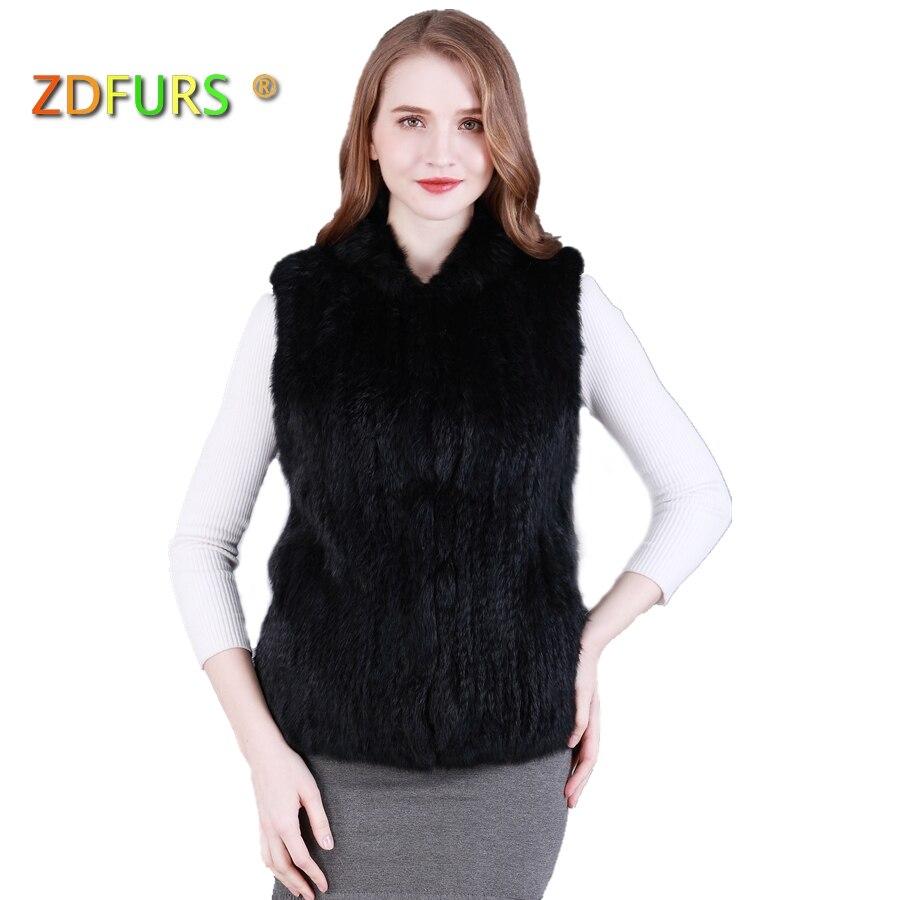 ZDFURS * nuovo stile fatto a mano a maglia della pelliccia del coniglio maglia classica più caldo wairstcoat gilet di pelliccia ZDKR-165018