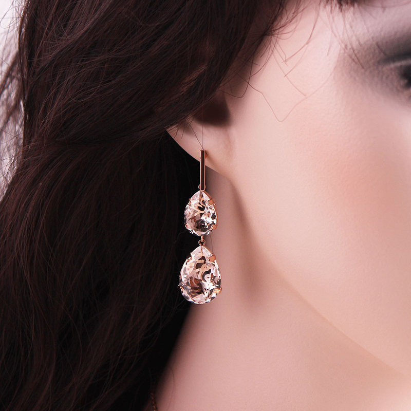 CNANIYA Jewelry Water Drop Simulated Crystal Earrings Rose Gold Color Long Earrings Dropping For Women Dangle Earing For Girls