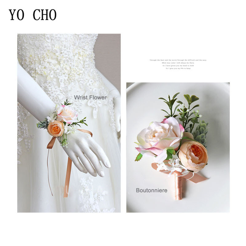 YO CHO Bridesmaid Wrist Corsage Bracelet Flower Rose Silk Wrist Corsage Cuff Bracelets Wedding Decoration Marriage Wrist Corsage
