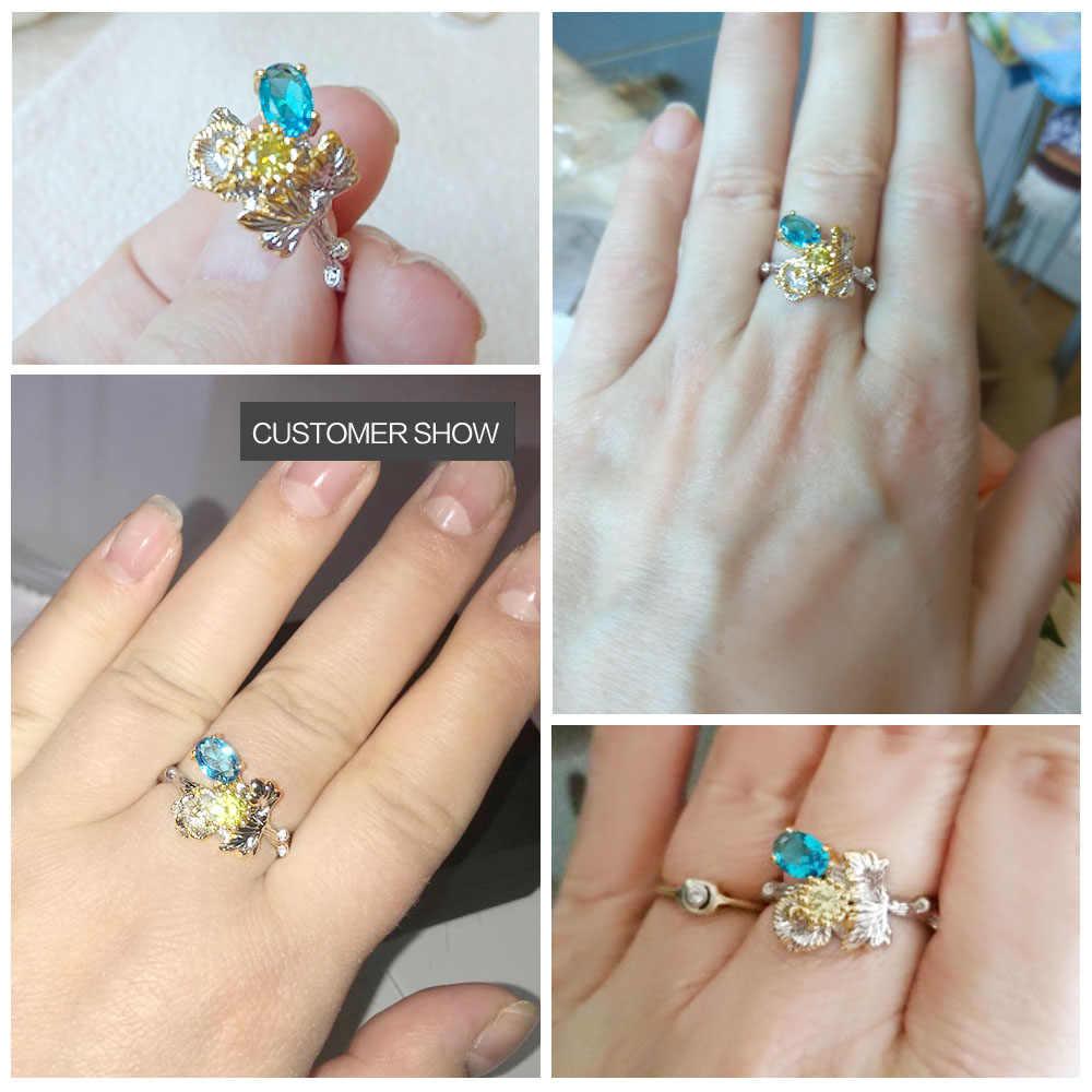 DreamCarnival 1989 серебряное цветочное кольцо для женщин, голубой желтый CZ, роскошная Праздничная бижутерия, оптовая продажа, Прямая поставка WA11473