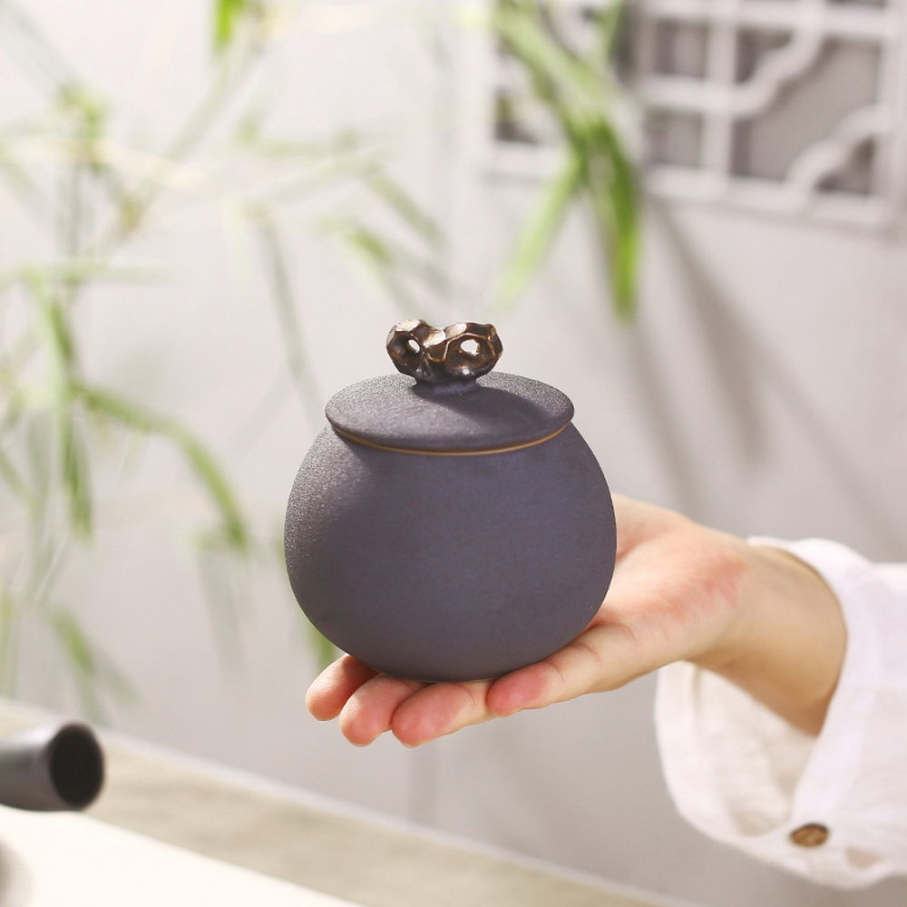 Black Small Ceramic Tea Caddy Pottery Canister Food Storage Container Coffee Jar|ceramic tea|pottery canisters|ceramic tea caddy - title=