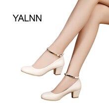 Yalnn Новый Для женщин пряжки высокий каблук Для женщин Насосы пикантные свадебные туфли толстый каблук острый носок туфли на высоком каблуке для Обувь для девочек