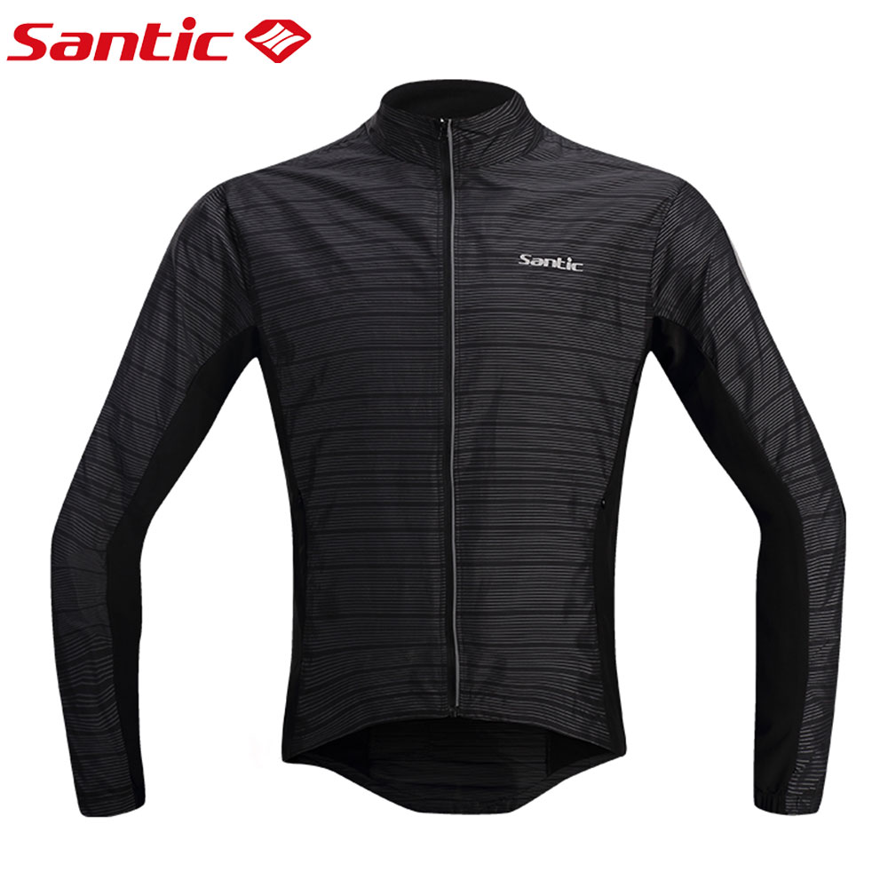 Santic Long Sleeve Cycling Jersey Windproof Men Bike MTB Bike Jersey Waterproof Cycling Raincoat Reflective Sport Bicycle Jacket extended hong kong style oxford cloth long sleeve raincoat warning reflective waterproof outdoor overalls many pockets printable