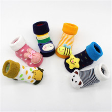 Yooap  Unisex Striped Dot Print Baby Slip Socks Boys Girls Winter