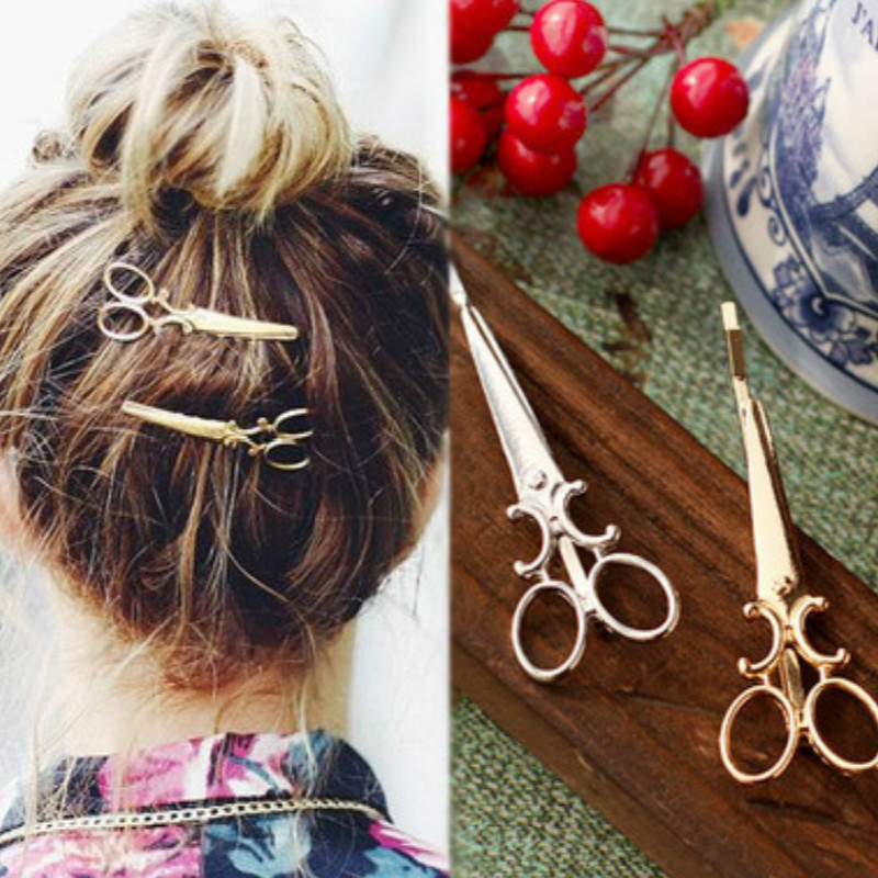 1 Pc 2016 new charm sweet gold / silver scissors-shaped hairpin bridal hair accessories wedding hair accessories, hair clips