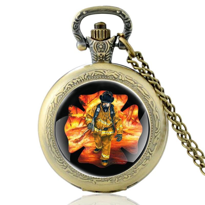 Brave Firefighter Art Glass Quartz Pocket Watch Vintage Bronze Men Women Pendant Necklace Watches