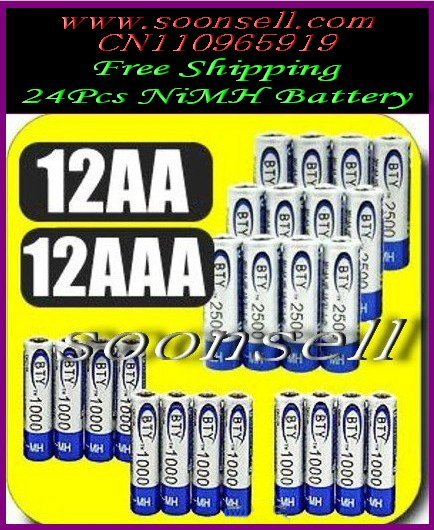 Soonsell-BIG SALE-----------BTY 12+12 piles 12 1.2v AA 2500mAh 12 AAA 1000mAh Rechargeable Recharge Ni-MH NiMH Battery