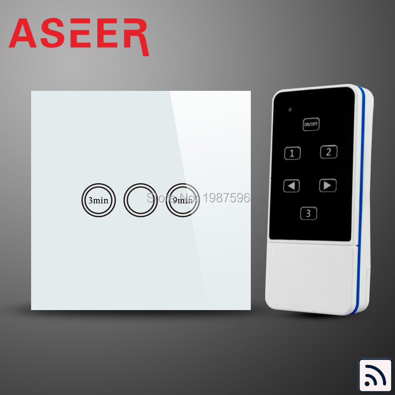 Intelligent Light Switch: ASEER,EU Type Pearl Crystal Glass Panel,Timer Delay Switch,RF Remote Digital,Lighting
