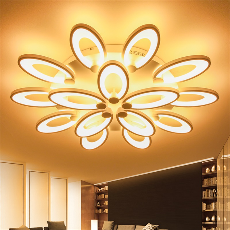 Yanghang Modern Led Ceiling Lights For Living Room Bedroom White Color Acrylic Home Dec Surface Mounted Ceiling Lamp Fixtures black or white rectangle living room bedroom modern led ceiling lights white color square rings study room ceiling lamp fixtures
