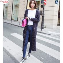 Long Length Polka Dot Sweater Trench Wide Shoulder Modern Slim Knitwear Spring Autumn Outer Garment