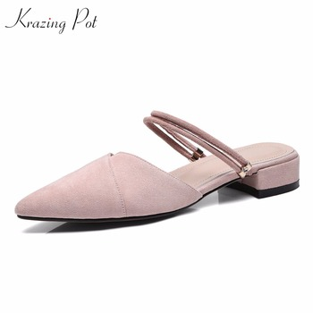 Karzing Pot new flock vintage women pumps classics superstar pointed toe shallow wedding party preppy style young lady mules L20