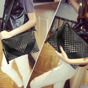 Image 4 - High Quality BLACK WOMEN LEATHER HANDBAGS Rivet stud crossbody bags female women messenger bags purses and handbags shoulder bag