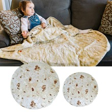 Realistic Food Taco Burrito Tortilla Blanket Soft Flannel Wrap Novelty Blankets Adults Babies and Children Round