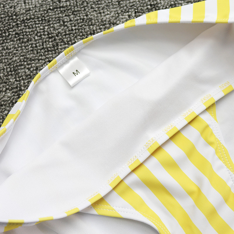 PLAVKY 2019 Retro Sexy Yellow Striped Strapless Bandeau Biquini Cut High Waist Swim Bathing Suit Swimsuit Swimwear Women Bikini