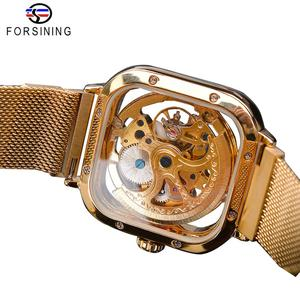 Image 4 - Forsining Men Mechanical Watches Automatic Self Wind Golden Transparent Fashion Mesh Steel Wristwatch Skeleton Man Male Hot Hour