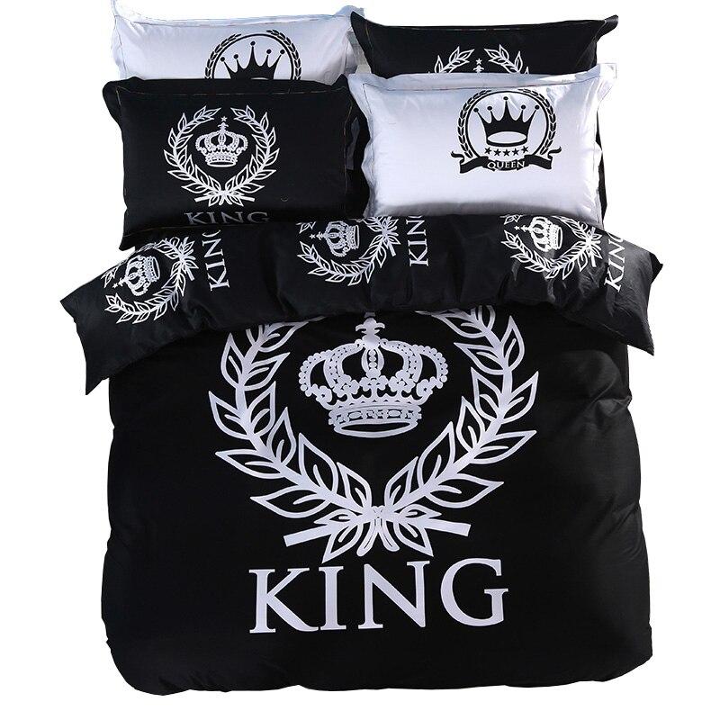Svetanya Real jogo De Cama De Impressão Roupa de Cama de Casal Única Rainha King Size 100% Algodão Black & White Series