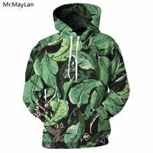 New Design 3D Hoodie Male Green Leaf 3D Full Print Hip Hop Leisure Streetwear Hooded Sweatshirt Spring Unisex Hooded Tracksuits недорого