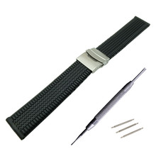 20 22 mm Silicone Gel Rubber Watch Band Strap Straight End Bracelet Stainless Steel Double Folding Clasp Watchband + Tool  -2 цена