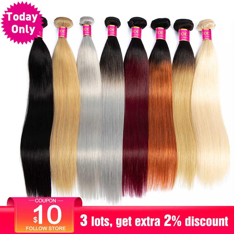 TODAYONLY 1/3/4 пучки бразильский пучки волос плетение прямые человеческих волос Связки Ombre блондинка бордовый 1B/серый 613 Связки Реми