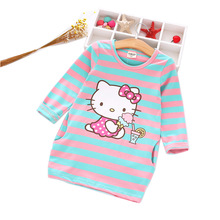 New Spring Cotton Hello Kitty Girl Dress Cartoon Rabbit Cat Kids Princess Dresses Children Clothes Costumes Soft Dress for girl