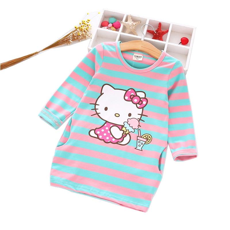New Spring Cotton Hello Kitty Girl Dress Cartoon Rabbit Cat Kids Princess Dresses Children Clothes Costumes Soft Dress for girl