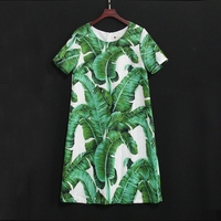 Summer Kids Banana Leaves Plus Size Children Family Look Clothes Mother Baby Girl Beach Dress Mommy