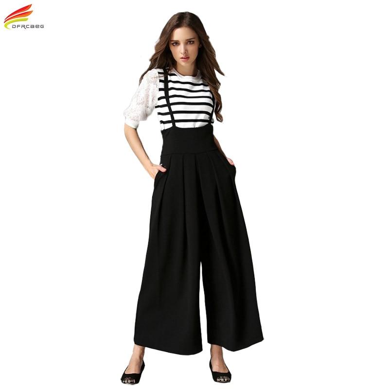 Dámské kalhoty se širokým stehnem s popruhem 2017 Letní kotníkové kalhoty s dlouhým rukávem Dámské kalhoty s dlouhým pásem dámské kalhoty Mujer