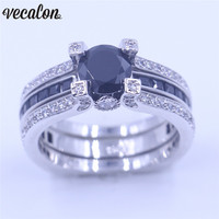 Vecalon 10 Colors Couple Anniversary Ring 5A Zircon Cz White Gold Filled Wedding Band Ring Set