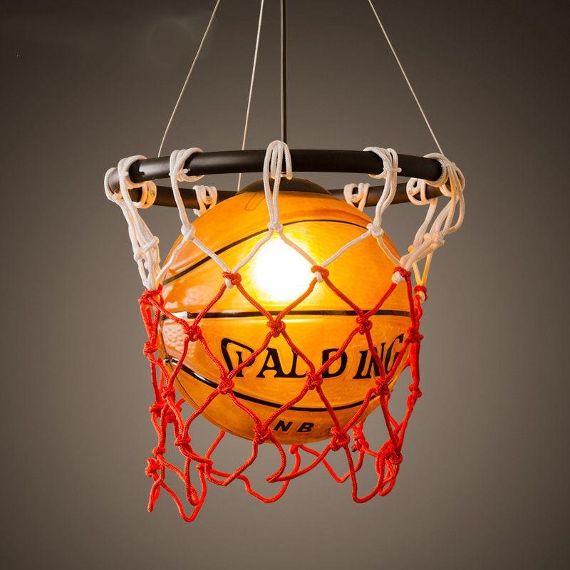 Vintage Luminaria de Basket-Ball Pendentif Lumière Lampe Suspendue Acrylique Cage Art Décoratif Pour Chambre d'enfant Salon Salle À Manger P488