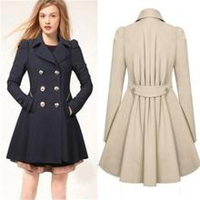 2015 Women's Autumn Slim Trench Winter Double Breasted Coat Turn-down Collar Lon