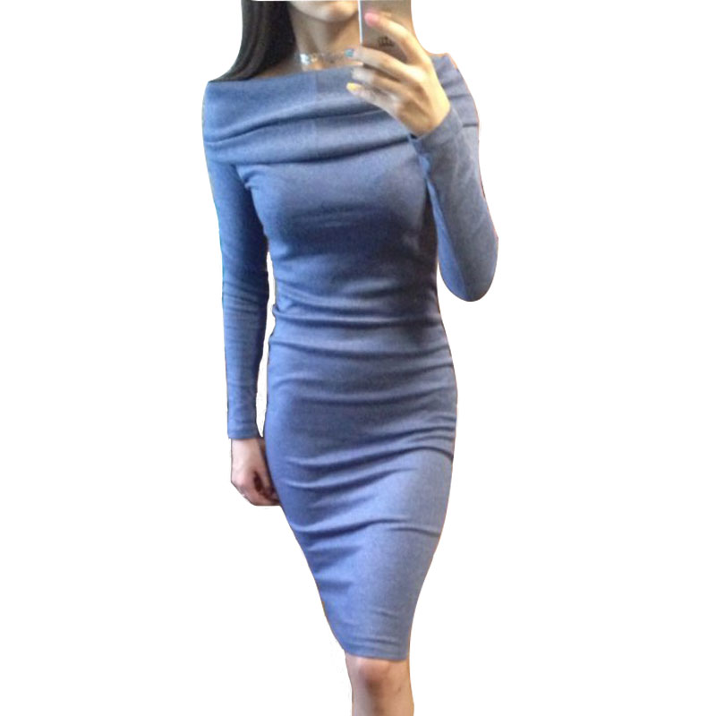 Sexy Off Shoulder Bodycon Dress New Women Autumn Casual Knitted Dress Long Sleeve Slash Neck Slim Maxi Winter Dresses Workwear casual off the shoulder round neck striped women s dress