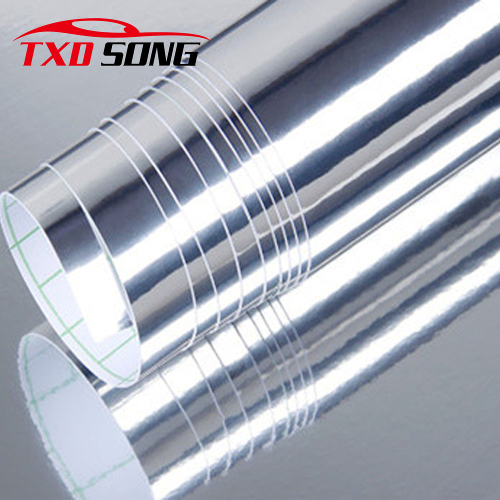 20CM*30M/Roll Silver Chrome Mirror Vinyl with Bubble Free Air Release DIY Wrap Sheet Film Car Sticker Decal Car Styling high quality stretchable chrome black vinyl wrap sheet roll for car wrapping air free bubble