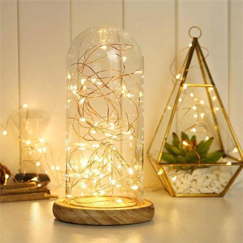 1 m 2 m 3 m 5 m 구리 와이어 led 문자열 조명 방수 휴일 요정 갈 랜드 조명 램프 크리스마스 웨딩 파티 장식