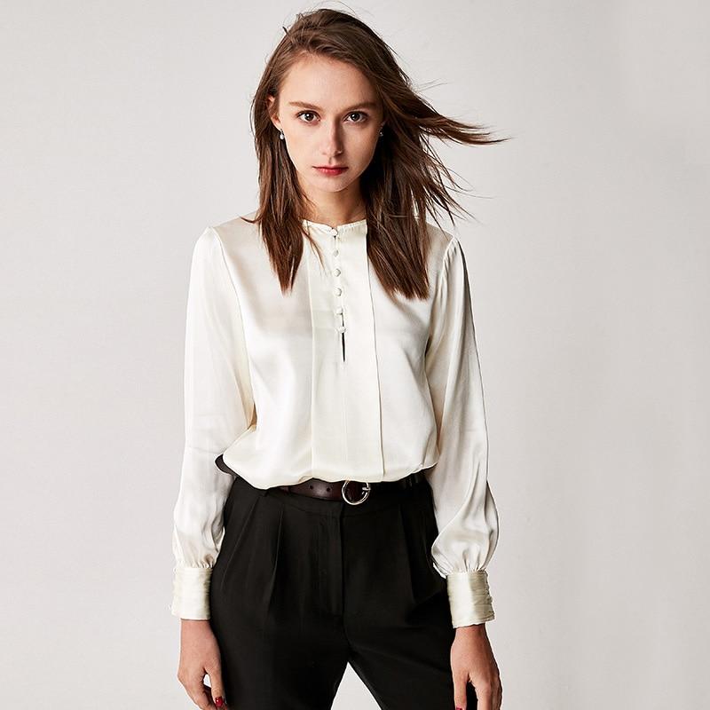 100 Silk Blouse Women Shirt Vintage Design O Neck Long Sleeves 3 Colors Translucent Fabric Office