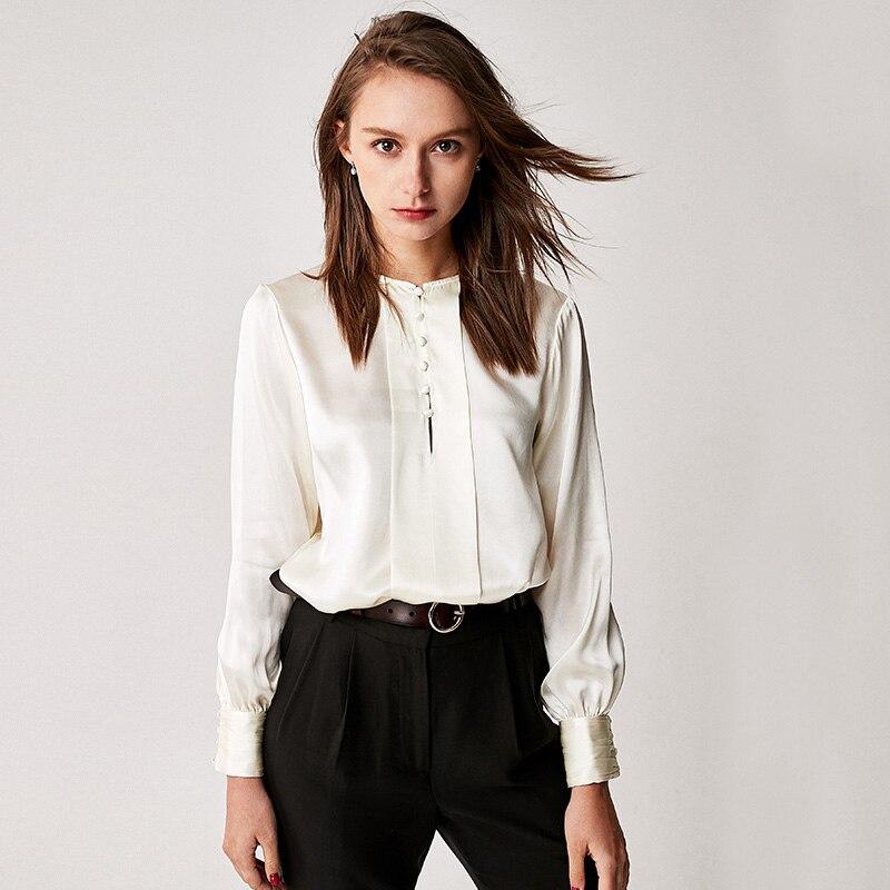 100% Soie Blouse Femmes Chemise Vintage Design O Cou Manches Longues 3 Couleurs Translucide Tissu Bureau Top Nouvelle Mode Printemps 2018