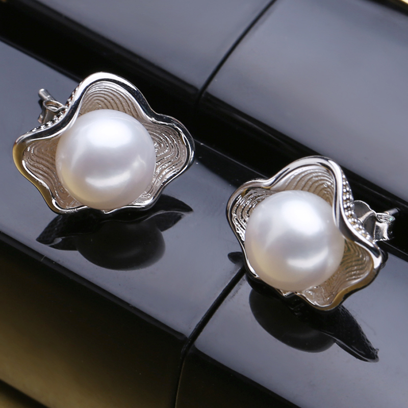 FENASY Genuine Natural Freshwater Pearl Earrings Vintage Shell Design Stud Earrings For Women 925 Sterling Silver Jewelry